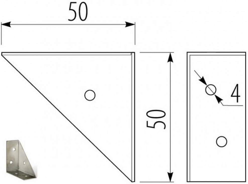 verzinkt 10 St/ück Eckwinkel Eckverbinder Stahlwinkel 50 x 50 x 24 mm