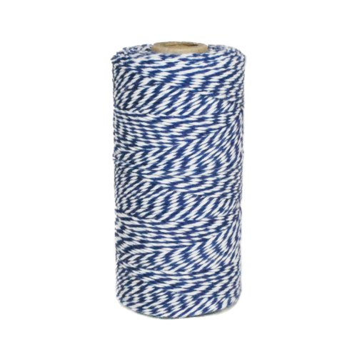 Baker Striped Tie (Dress My Cupcake Baker's Twine String Roll for Gifts and Favors, 240-Yard, Navy Blue)