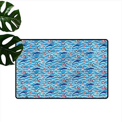 - HOMEDD Crystal Velvet Doormat,Lighthouse Wavy Lines Dolphins,Anti-Slip Doormat Footpad Machine Washable,35