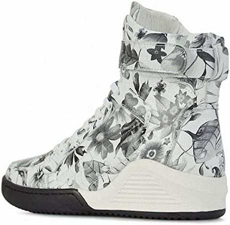 Mens Backpacking Boots Real Leather Print Booties White Fashion Male Casual Hightop Shoe Footwear High Top Tide Hip Hop Boot for Men Tennis