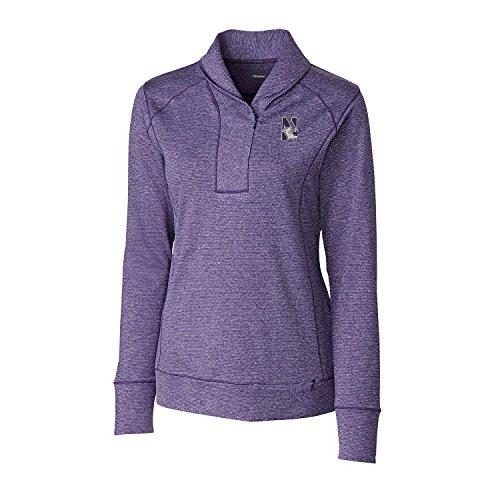 Cutter & Buck NCAA Northwestern Wildcats Women's Shoreline Half Zip Top, Medium, College Purple Heather