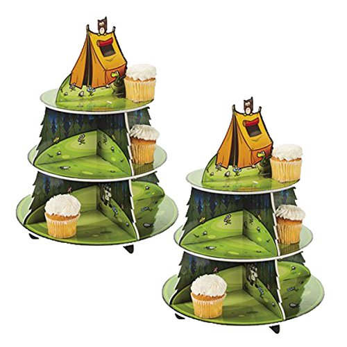 Fun Express Camp Adventure Cupcake Holder Display Stand by Party Supplies (2 (Camp Cupcake)