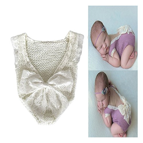 Fashion Infant Baby Girl Lace Romper Photography Props Outfit Lovely Jumpsuit With Bowknot Newborn Photo Props (White) (Photo Jump Shot)