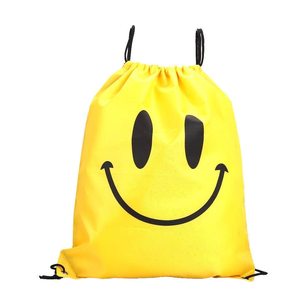 Domccy Waterproof Drawstring Handbag Sport Backpack Shopping Storage Bag of Kid Teenager (Smiley Face Yellow) Coin purse, shoes and accessories, ladies handbag, backpack