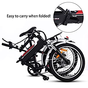 AMDirect VTT E-vélo pliant 20 pouces électrique Pedelec avec batterie au lithium (250W, 36V) chargeur circuit Hub Shimano à 7 vitesses