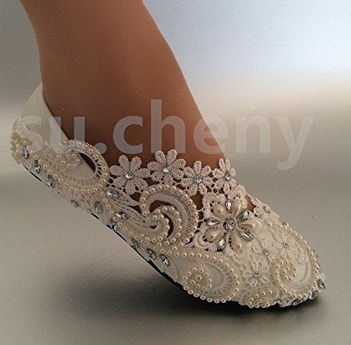 JINGXINSTORE zapatos de bombas boda 5 Pisos Perla US novia Blanco 12 5 pisos tamaño talón Cordón rrXqUY