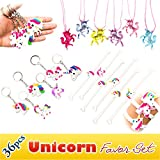 Rainbow Unicorn Toy Novelty Birthday Party Favor Set, 36pcs, Unicorn Bracelets, Necklaces, Keychains