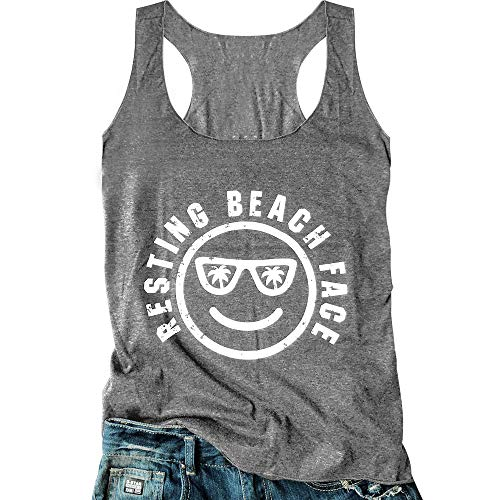 LANMERTREE Women's Graphic Tees Sleeveless Funny Workout Letters Print Tank Top T-Shirt (XXL, Grey)