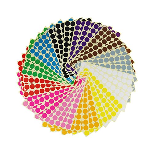 LJY 3/4 Round Dot Stickers Color Coding Labels, 12 Different Assorted Colors, 36 Sheets, 2520 Dots in Total