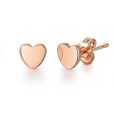 a5f7bb211 Rose Gold Heart Stud Earrings: Philip Jones: Amazon.co.uk: Jewellery