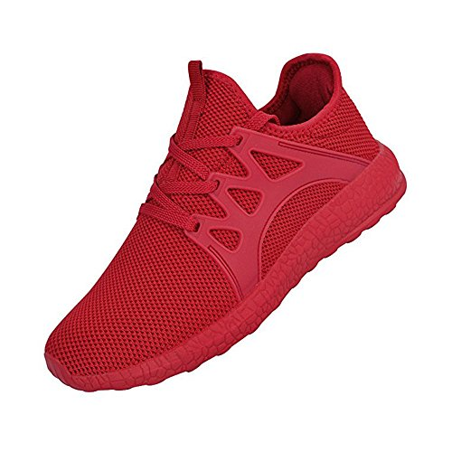 Feetmat Men's Sneakers Lightweight Breathable Mesh Gym Casual Shoes (13 D(M) US, Red)