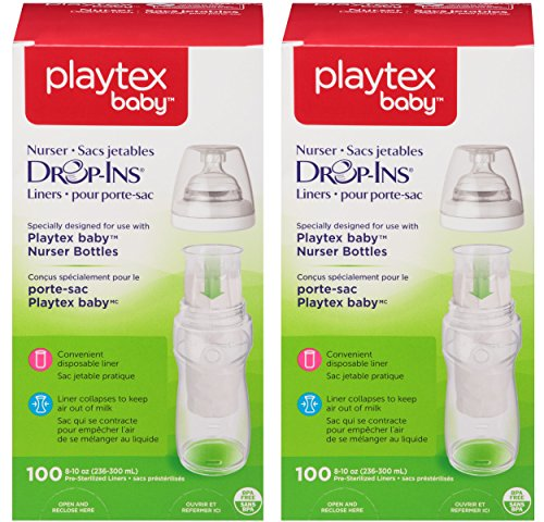 Playtex Baby Nurser Drop-Ins Baby Bottle Disposable Liners, Closer to Breastfeeding, 8 Ounce - 200 Count (Disposable Liners Pre Sterilized)