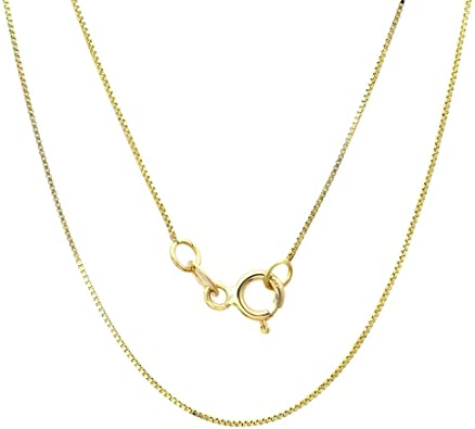 Gifts for her 10K Rose Gold Box Chain Necklace 0.45mm Man Valentines Day Woman Box Chain