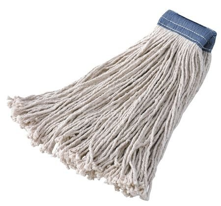 Rubbermaid Commercial Premium Cut-End Cotton Mop, 32-Ounce Size, 5-Inch Blue Headband, White (FGF15900WH00) by Rubbermaid Commercial Products