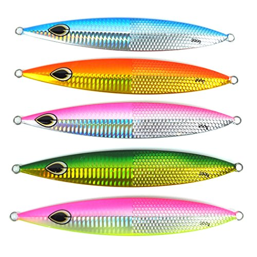 Aorace 5pcs/lot 200g Deep Sea Fishing Spoon Lure Metal Jig Lure Jigbait Spoon Fishing Treble Hook Spinner baits