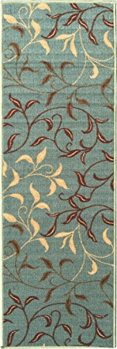 Ottomanson Ottohome Collection Contemporary Leaves Design Non-Skid Rubber Backing Modern Area Rug Hallway Runner, 2'7