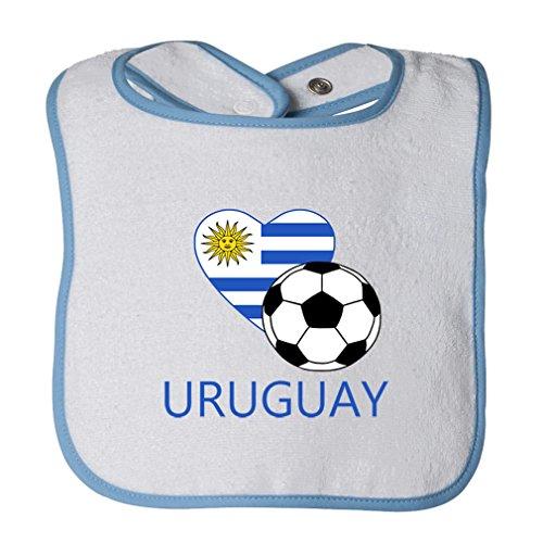 (Cute Rascals Love Soccer Heart Uruguay #2 Tot Contrast Trim Terry Bib White/Blue)