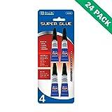 Super Glue Gel Pack, Bazic Super Glue Adhesive for Metal Ceramic Bond, 24 Units