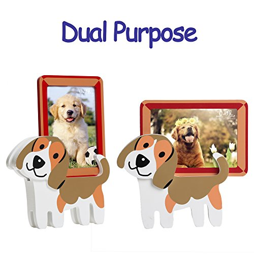 Valery Madelyn Wooden Picture Frame with Doggie Stands,Including Removeable 3.5x5 Inch Wood Photo Frame(Beagle Terrier)