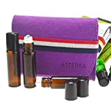 young living containers - Essential Oil Case Storage with 6pcs 10ML Roller Bottles, Portable Travel Carrying Bag for doTERR, Young Living, Free Gift Cap Label Dropper, DIY Essential Oil Perfume Storage(Purple bag+Brown bottle)