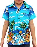 Raan Pah Muang RaanPahMuang Childrens Hawaiian Shirt In Summer Printed Rayon Seaside Beach Fun, 10-12 Years, Blue