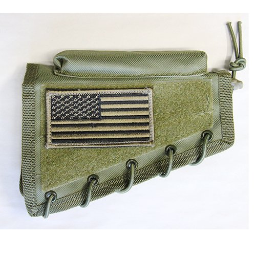 M1SURPLUS Tactical Green Cheek Rest with Stock Riser + Patriot USA Flag Morale Patch Fits Winchester Model 70 XPR CZ 452 455 512 527 557 HOWA 1500 Remington 597 Rifles
