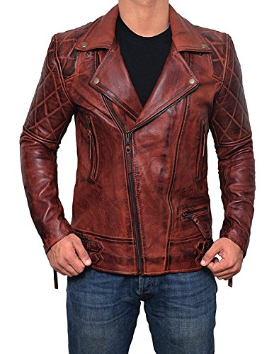 Frisco Brown Leather Jacket Men - Asymmetrical Distressed Quilted Lambskin Motorcycle Jackets Mens | M