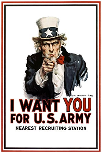 Vintage Uncle Sam - WPA War Propaganda Uncle Sam I Want You for US Army Recruiting WWII Vintage Patriotic Poster 24x36 inch