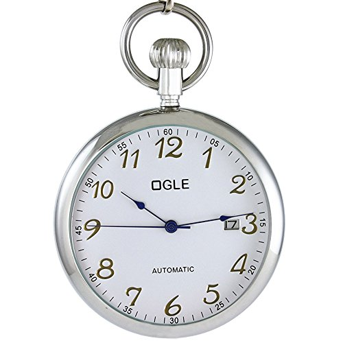 Ogle 3ATM Waterproof Vintage Stainless Steel Silver White Calendar Date Fob Self Winding Automatic Skeleton Mechanical Pocket Watch Chain Box (Date Silver Pocket Watch)