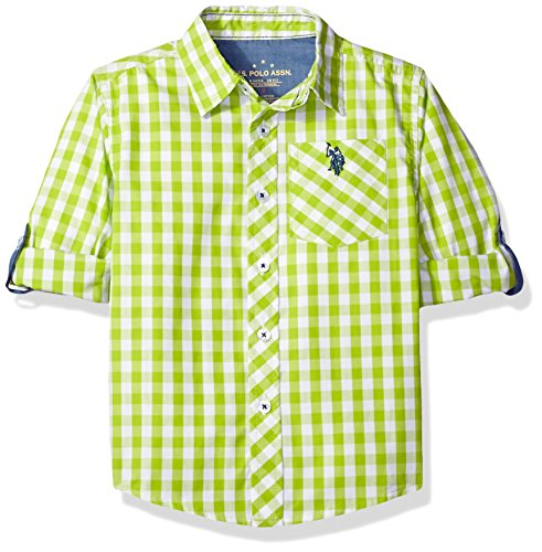 U.S. Polo Assn. Little Boys' Long Sleeve Gingham Check Woven Sport Shirt, Apple Green, 4 (Shirt Woven Sport)