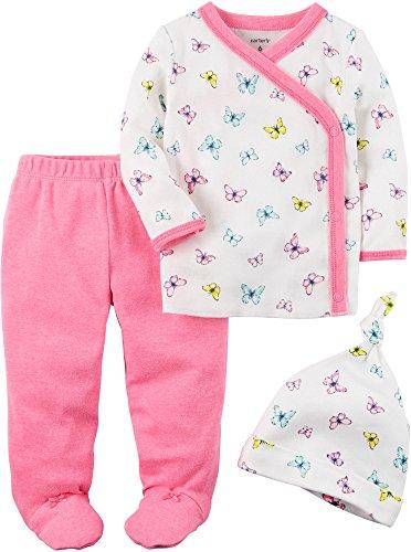 Butterfly Short Set (Carter's Baby Girls' 3 Piece Floral Footed Set Newborn)