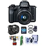 Canon EOS M50 Mirrorless Camera EF-M 15-45mm f/3.5-6.3 IS STM Lens, Black - Bundle 16GB SDHC Card, Camera Case, 49mm Filter Kit, Cleaning Kit, Card Reader, Mac Software Package