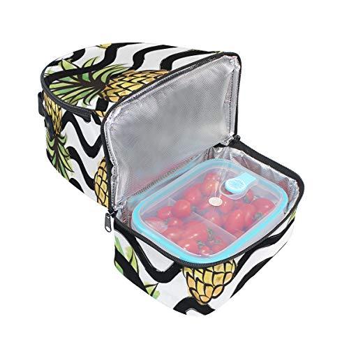 pour Tote isotherme Cooler Pincnic à lunch Wave Ananas Alinlo avec bandoulière réglable avec Boîte Stripe Sac à l'école qvvB6H