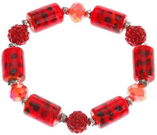 Lova Jewelry Black Polka Dot on Red Glass Beaded Fashion (Sparkling Beaded Bracelet)