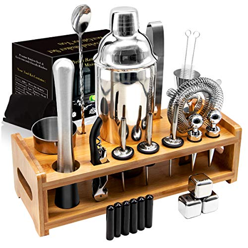 26Pcs Stainless Steel Cocktail Bar Tool Set,Perfect Bar Accessories for Home Bar Set and Martini Mixer Kit with Bamboo…