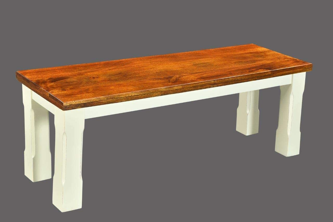 Timbergirl Mysore Farmhouse Chic Bench-60 Solid Wood Bench, Brown