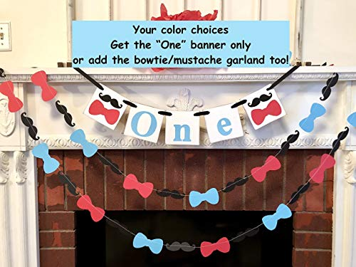 1st Birthday Decoration - High Chair Garland - Mustache Bowtie Cake Smash Backdrop - I am One Banner - Bowtie Birthday Decor