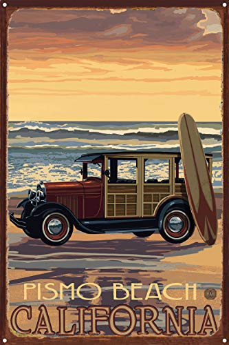 Pismo Beach California Car with Surfboard Rustic Metal Art Print by Paul A. Lanquist (12