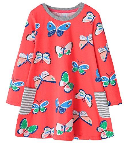 Fiream Girls Cotton Casual Longsleeve Butterfly Cartoon -
