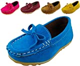 DADAWEN Girl's Boy's Suede Slip-on Loafers Casual Shoes