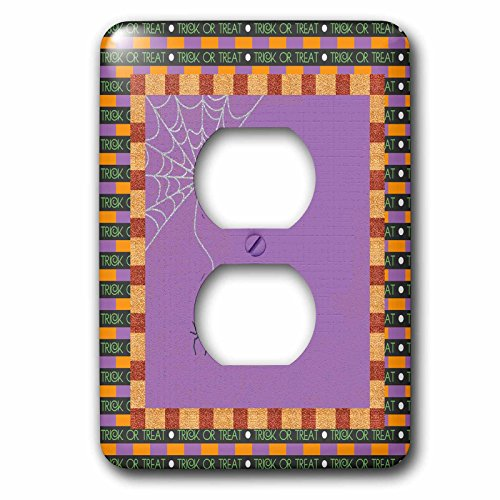3dRose Beverly Turner Halloween Design - Spider, with Web, Trick or Treat Frame, Orange, Purple, and Black - Light Switch Covers - 2 plug outlet cover (lsp_254441_6) ()