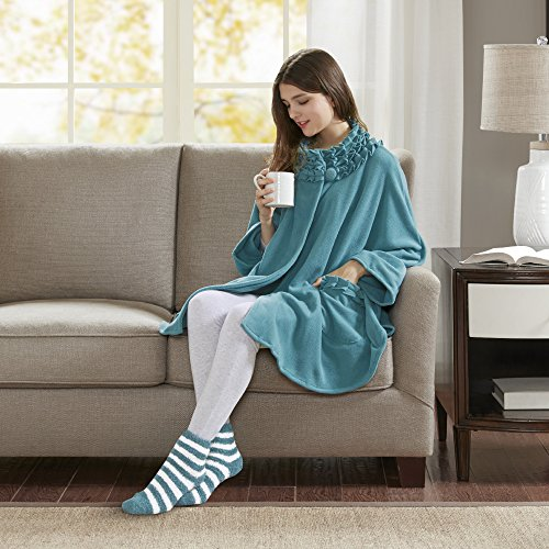 Comfort Spaces Stylish Soft Microfleece Poncho Angel Wrap with Matched Sock Set - Travel Blanket - (One size fits most)- Teal