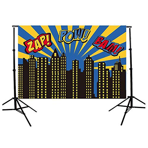 Focussexy 5x3ft Superhero Theme Photography Backdrop Photo Video Studio Fabric Background Screen for Cosplay Halloween