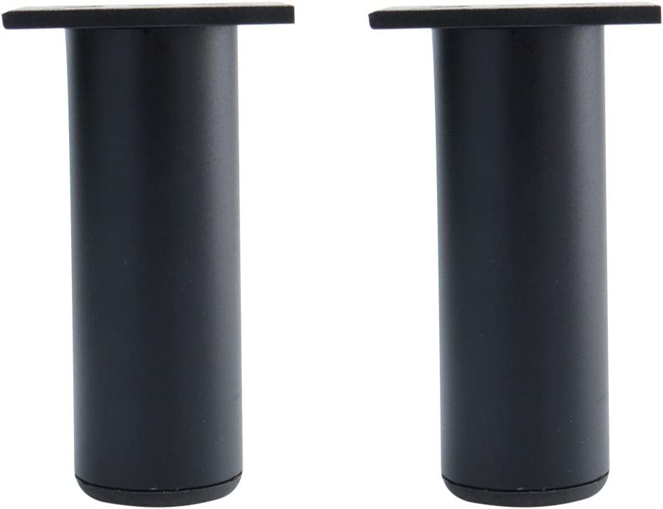 uxcell 5 Inch Round Furniture Legs Aluminium Alloy Sofa Couch Table Cabinet Wardrobe Worktop Shelves Feet Replacement Height Adjuster Black Set of 2