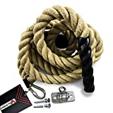 Valorem Sports Gym Climbing Rope for Crossfit Training Exercise Workout (Bracket and Carabiners Included)