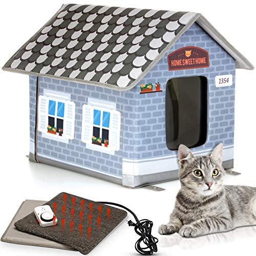 PETYELLA Heated cat Houses for Outdoor Cats in Winter – Heated Outdoor cat House Weatherproof – Outdoor Heated cat House – Easy to Assemble