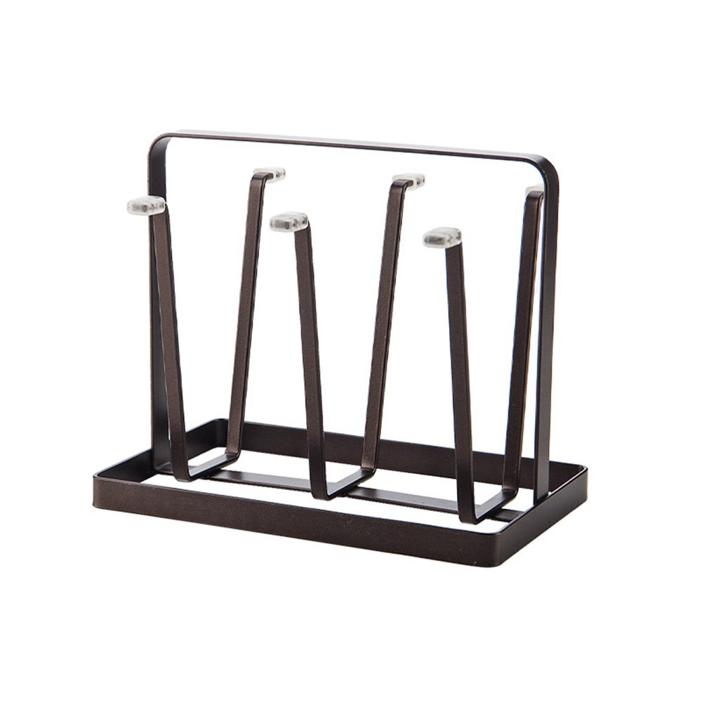VANRA Metal Steel Mug Holder Hanger Kitchen Stand Organizer Drinkware Drying Rack with 6 Hook (Bronze)