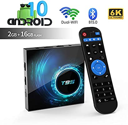Android TV Box, TUREWELL T95 Android 10.0 Allwinner H616 Quadcore 2GB RAM 16GB ROM Mali-G31 MP2 GPU Soporte 6K 3D 1080P 2.4/5.0GHz WiFi 10/100M Ethernet BT 5.0 DLNA HDMI 2.0 H.265 Smart