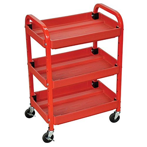 (Luxor Compact Adjustable Height 3 Shelves Utility Cart - Red)