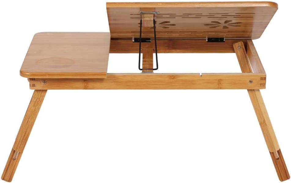Ausla Laptop Schreibtisch Faltbare H/öhenverstellbar Bambus Notebooktisch Fr/ühst/ück Serving Bett Tablett Tragbare Laptoptisch Betttisch mit Schublade